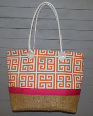 Orange Greek Key Beach Bag