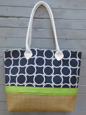 Navy and Green Beach Bag
