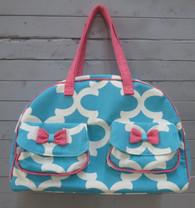Aqua and Pink Overnight Bag