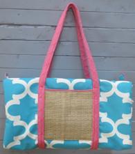 Aqua and Pink Duffle Bag