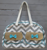 Grey Chevron Overnight Bag