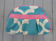 Aqua Quatrefoil Medium Cosmetic Bag