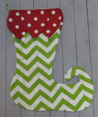 Elf Stocking - Green Chevron