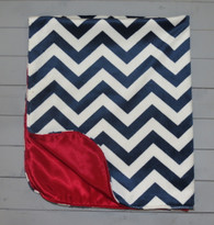 Navy Chevron Blanket