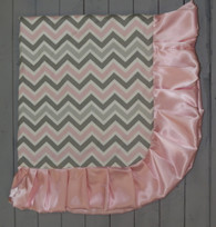 Pink and Grey Chevron Blanket
