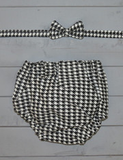 Houndstooth Bow Tie/Diaper Cover Set
