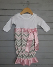 Grey and Pink Chevron Bunt Sack