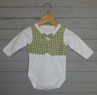Green Gingham Bow Tie Vest