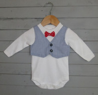 Blue Seersucker Bow Tie Vest
