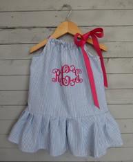 Blue Seersucker Pillowcase Dress