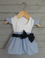 Blue Seersucker Cap Sleeve Bow Dress
