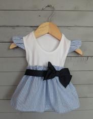 Blue Seersucker Cap Sleeve Bow Dress