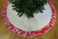 Cream and Red large Tree Skirt