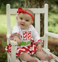 Applique Onesie and Red Skirt