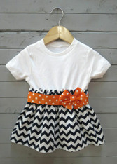 Navy and Orange Bow Dress