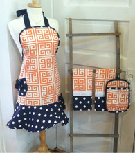 Orange Greek Key Apron