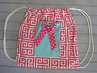 Pink Greek Key Gym Bag