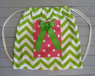 Green Chevron Gym Bag