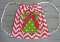 Pink Chevron and Green Dot Gym Bag