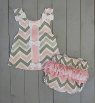 Grey and Pink Chevron Maggie Sun Dress
