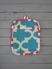 Aqua and Pink Pot Holder