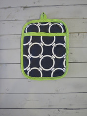 Navy and Green Pot Holder