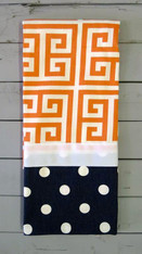 Orange Greek Key and Navy Dot Hand Towel