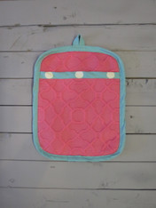 Pink and Turquoise Pot Holder