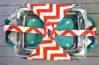 Coral Chevron and Teal Dot Casserole Carrier