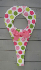 Pink and Green with Bow Binkie Holder