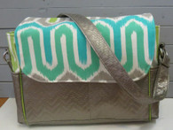 Teal, Green, Grey Large Diaper Bag