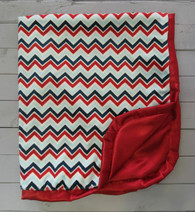 Red and Blue Chevron Blanket