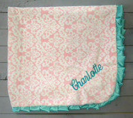 Pink Damask with Tiffany Blue Blanket