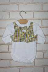 Yellow Plaid Bow Tie Vest Onesie