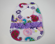 Purple Paisley Bib with Ruffles
