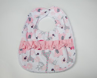 Pink Zoo Bib with Ruffles