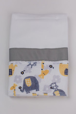 Yellow Zoo Burp Cloth with Ribbon