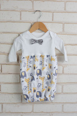 Yellow Zoo Bow Tie Bunt Sack