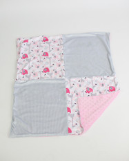 Pink Zoo and Grey Stripe Blanket