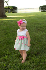 Green and Pink Flamingo Seersucker Bow Dress