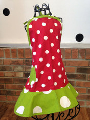 Child's Red and White Polka Dot Apron