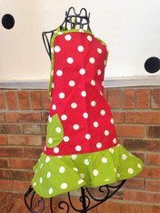Child's Red and Green Polka Dot Apron