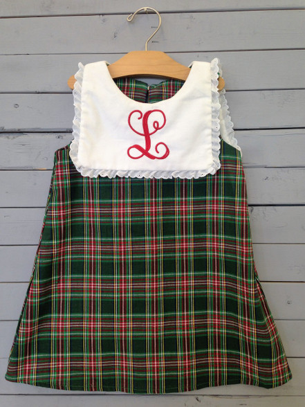 This plaid Shift dress is perfect for Christmas/winter. With the green and red colors making it go right with the time of year. Monogrammed L, or any letter of choice for personalization.