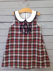 Red, white and green plaid shift dress, perfect for Christmas time. Monogrammed initials of choice to personalize, any color of your choice.