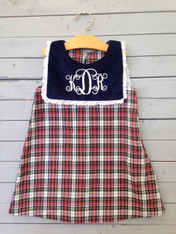 This red, white and navy shift dress is perfect for all year long, whether it be a holiday, or just a casual day. Initials and initial color of choice, set to be personalized just the way you want.