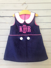 Navy Shift Dress with Pink Monogram