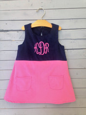Pink and Navy Shift Dress with Monogram