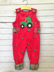 Red Jon Jon with Green Tractor Applique