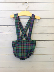 Green and Navy Plaid Suspender Bloomers