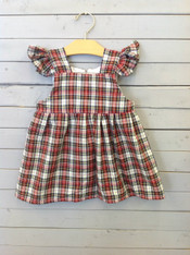Red Plaid Kelly Dress with Ruffle Sleeves